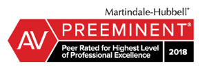 AV Preeminent - Peer Rated for Highest Level of Professional Excellence 2018